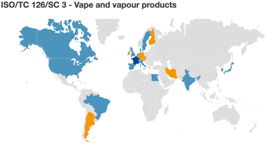 Countries participating in the first ISO/TC 126/SC 3 - Vape and vapour products workshop