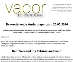 Email from a German vendor announcing that, as of 20 May, they cannot make cross-border sales