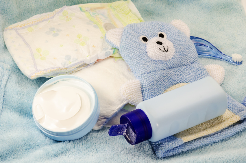 children's bath products and hygiene items closeup