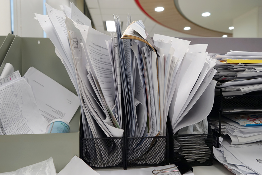 many documents at the office