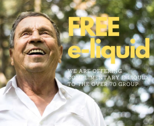 Free e-liquids for anyone aged 70 and above.