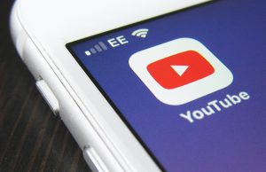 Youtube icon on a screen