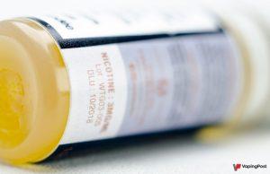 zoom on nicotine level of an e-liquid bottle