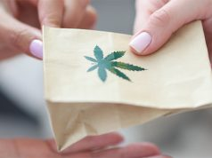 holding over paper bag with marijuana sign