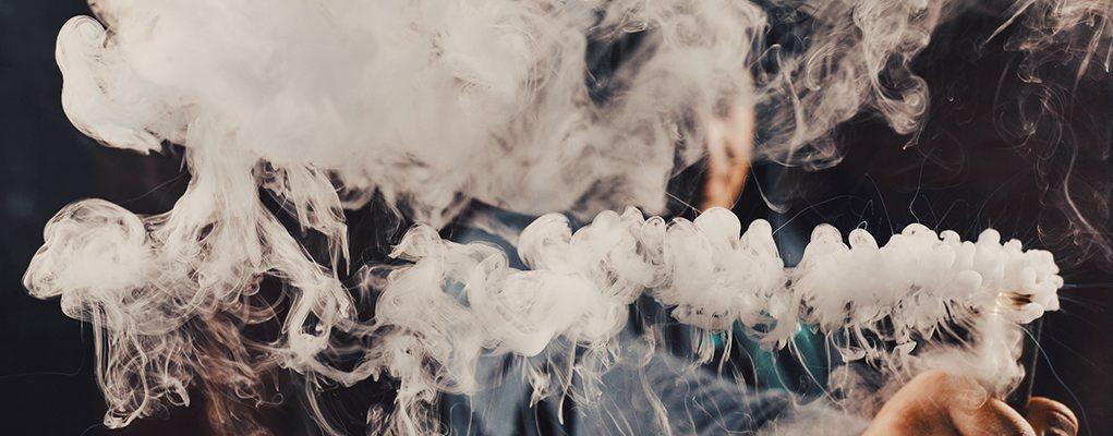 big cloud of vapour with e-cigarette