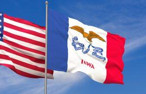 USA and Iowa flags